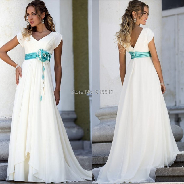 Greek Style A Line Chiffon Wedding Dress 2017 Simple Sash: Pink Couture Simple Beautiful Turquoise Flowers Sashes