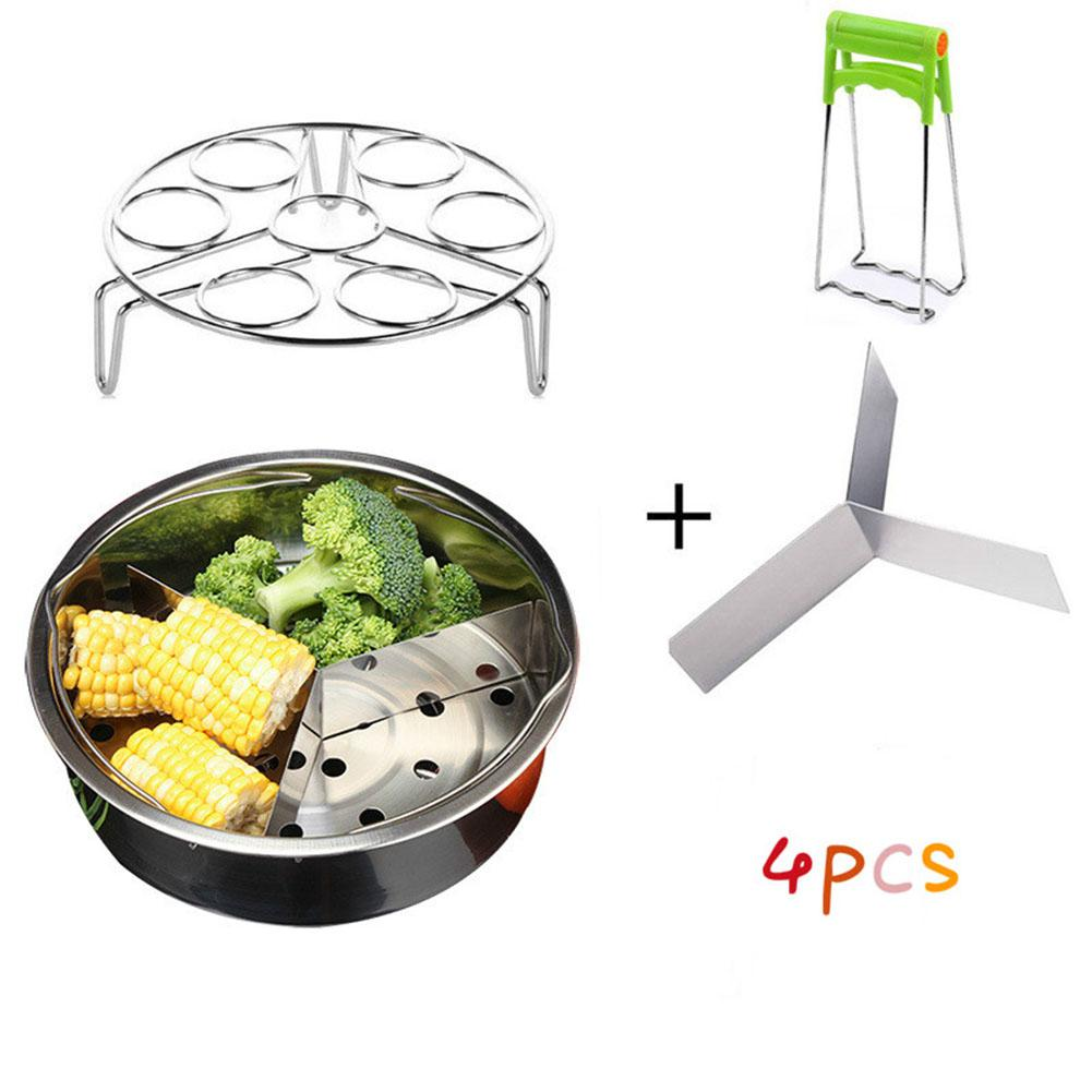 Adeeing Stainless Steel Food Steamer Set Egg Poacher With Spacer Layer & Plate Clamp Kitchen Supplies 4PCS/Set