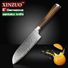 XINZUO 5″ santoku knife Japanese Damascus kitchen knives Japanese chef fruit knife double forged color wood handle FREE SHIPPING
