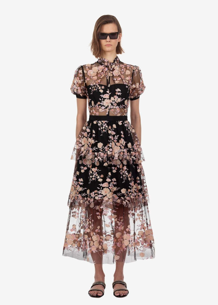 Summer womens mesh dress Hot Fashion embroidered sequins floral  Sexy see-through A405