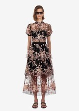 Summer women's mesh dress Hot Fashion embroidered sequins floral dress  Sexy see-through dress A405 недорого
