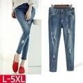 5xl plus big size deinm panty women spring autumn winter 2017 feminina hole Jeans female female A2840