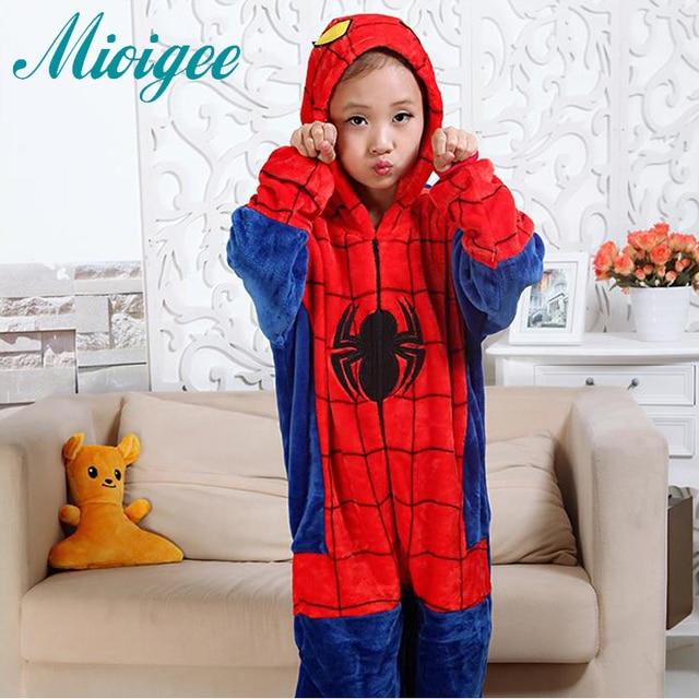 Mioigee 2018 spiderman children kigurumi Boys Casual Flannel Keep Warm  Pajamas Girls Winter Fashion Cute Pajamas kids Clothes 6d783c54c