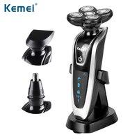Kemei nuevo 3 IN1 multifunctio recargable Afeitadora eléctrica 5 HOJA washabl afeitar eléctrica afeitadores hombres Cara Cuidado 5d flotante 5886