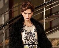 Wholesale Black Imitation Beach Wool Fur Fabric Dress Coat Polyester Leather Fabric Width 150cm Fabric B004