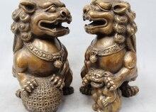8 «Китай Китайский Народная Бронзовый Лев Foo Dog Ball Сын Зун Статуя Скульптура Пара