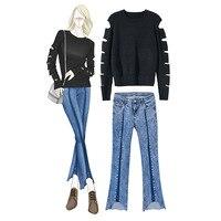 2018 г. хлопок полный неон, осень зима, Новый стиль Свитер с прозрачной вставкой, широкие джинсы, костюм дамы, Для женщин 892903