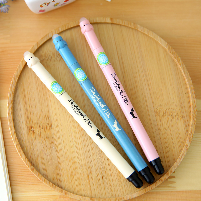 4 Pcs/lot Aihao Cute Kawaii Korean Eraserable Gel Pens Blue Black Ink With Gel Pen Erasers Kid School Office Supplies Stationery