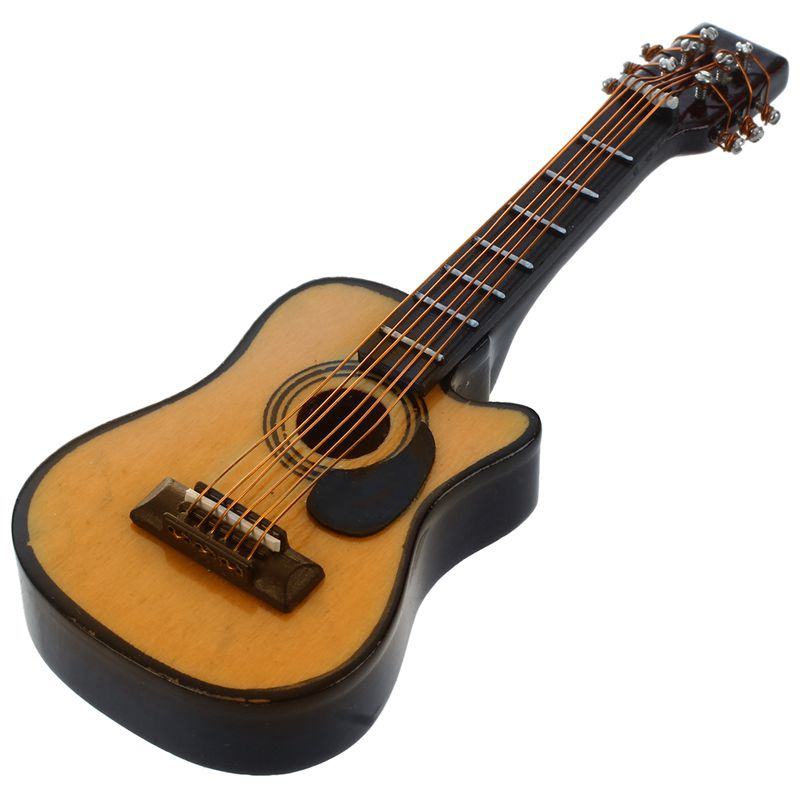 ABLD-1:12 Dollhouse Miniature Music Instrument Acoustic Guitar Yellow And Brown Red