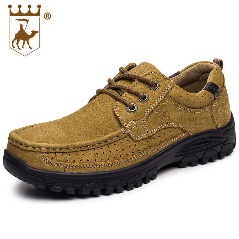 Sneakers Hiking Shoes Walking Shoes Men Genuine Leather Rubber Anti-skid Wear-resistant Soles Lace CALTUS Camel Breathable 8606
