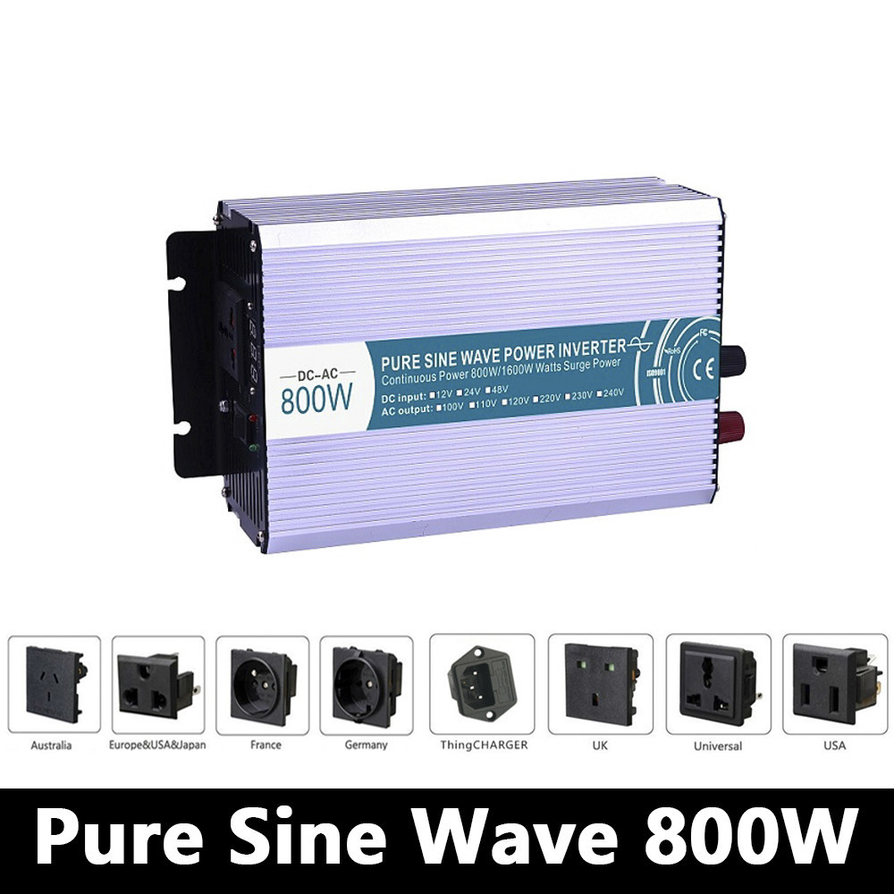 800W Pure Sine Wave Inverter,DC 12V/24V/48V To AC 110V/220V,off Grid Power Inverter,solar Invertor,voltage Converter For Home бумага iq allround а3 80g m2 500л в