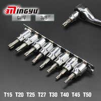 """8 Uds 3/8 """"destornillador de brocas de llave de enchufe juego de herramientas de mano de coche tamper proof Torx Star brocas para la reparación automática del hogar"""