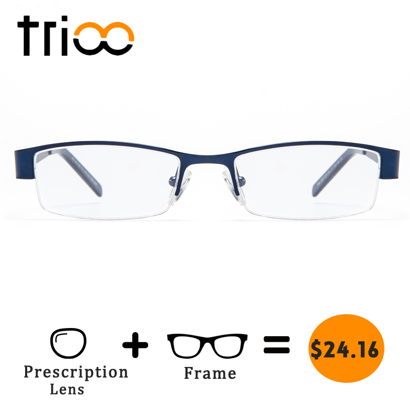 TRIOO Prescription Glasses Men Myopia Reading Eyeglasses Square Metal Semi-Rimless Blue Frames Clear Lens Computer Eyewear Male