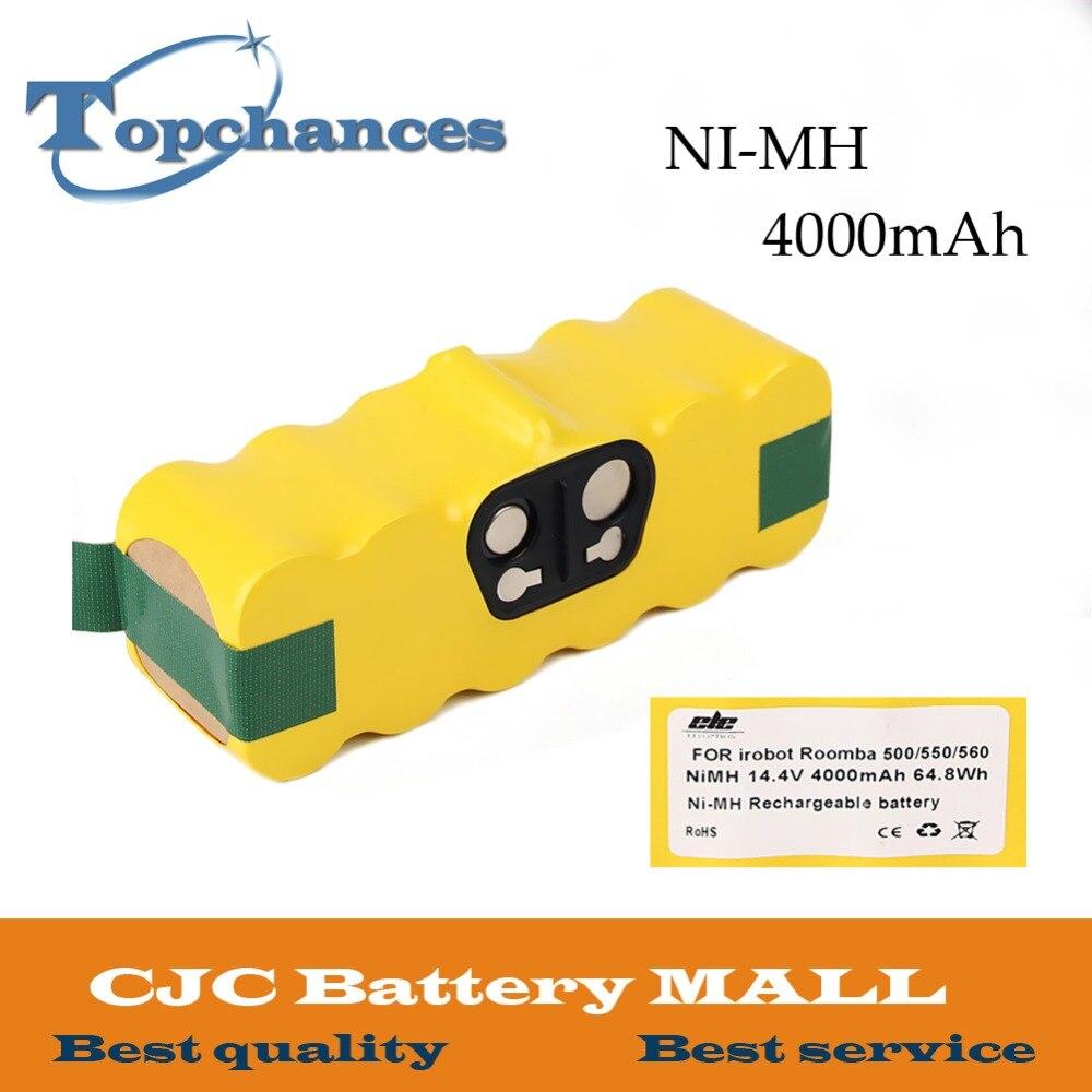 Nouveau 4000 mah NI-MH Vide Batterie pour iRobot Roomba 500 560 530 510 562 550 570 581 610 650 790 780 532 760 770 batterie Robotique