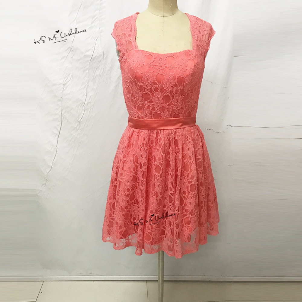2017 Coral Pink   Bridesmaid     Dress   Short for Girls Lace Wedding Party Prom Gown Open Back Buttons Robe Demoiselle d'honneur