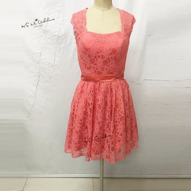 cc148d65f € 74.26 20% de DESCUENTO|2017 Coral Rosa vestido de dama de honor corto  para niñas encaje vestido de fiesta de boda vestido de fiesta espalda ...