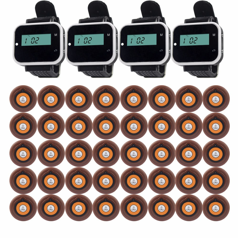 3 color Wireless Pager Calling System 4 Watch Receiver+40pcs Call Button Restaurant Equipments Waiter Calling System F3229 restaurant pager watch wireless call buzzer system work with 3 pcs wrist watch and 25pcs waitress bell button p h4