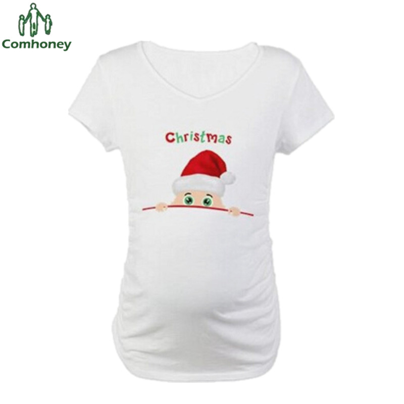 Maternity t shirt funny pregnant shirts short sleeve for Funny christmas maternity t shirts