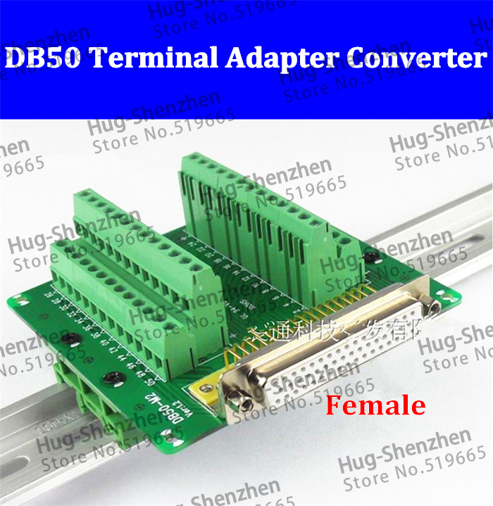 DB50 DR50 Female 50 pin port din rail module Terminal block adapter converter PCB board Breakout 3 row with shell