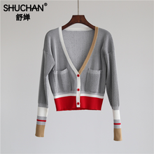 Shuchan Fashion Korean Cute Sweater Womens Free Knitted Female Cardigan Fall V-Neck Patchwork Pockets Casual Tops