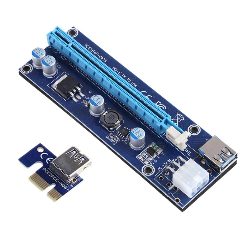 60cm USB 3.0 PCI-E Express 1x to 16x Extender Riser Card Adapter with 6Pin Power Cable Video Card for BTC Bitcoin Mining Miner 15pin sata pci e riser pcie express 1x to16x extender riser adapter mining card with 60cm usb 3 0 cable for btc ltc eth miner