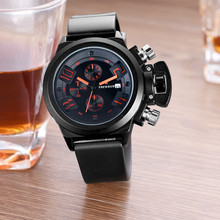 Calendar Men's Watch Quartz Sports Silicone Strap Waterproof Multi-function Chronograph Male Clock Business Relogio masculino carnival mechanical men watch phase moon leather strap double calendar stainless steel multi function clock relogio masculino