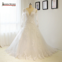 AMANDA NOVIAS Sleeves Lace Wedding Dress Sexy V Neckline