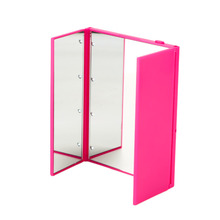 Tri Fold Adjustable Led Lighted Travel Mirror Protable Ultra Thin 8 LEDs Touch Screen Make up