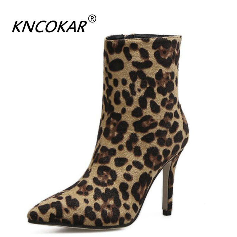 KNCOKAR New Autumn And Winter Leopard Print Pointed Stiletto Ankle Boots Chic And Sexy Super High Heel Boots Female Boots