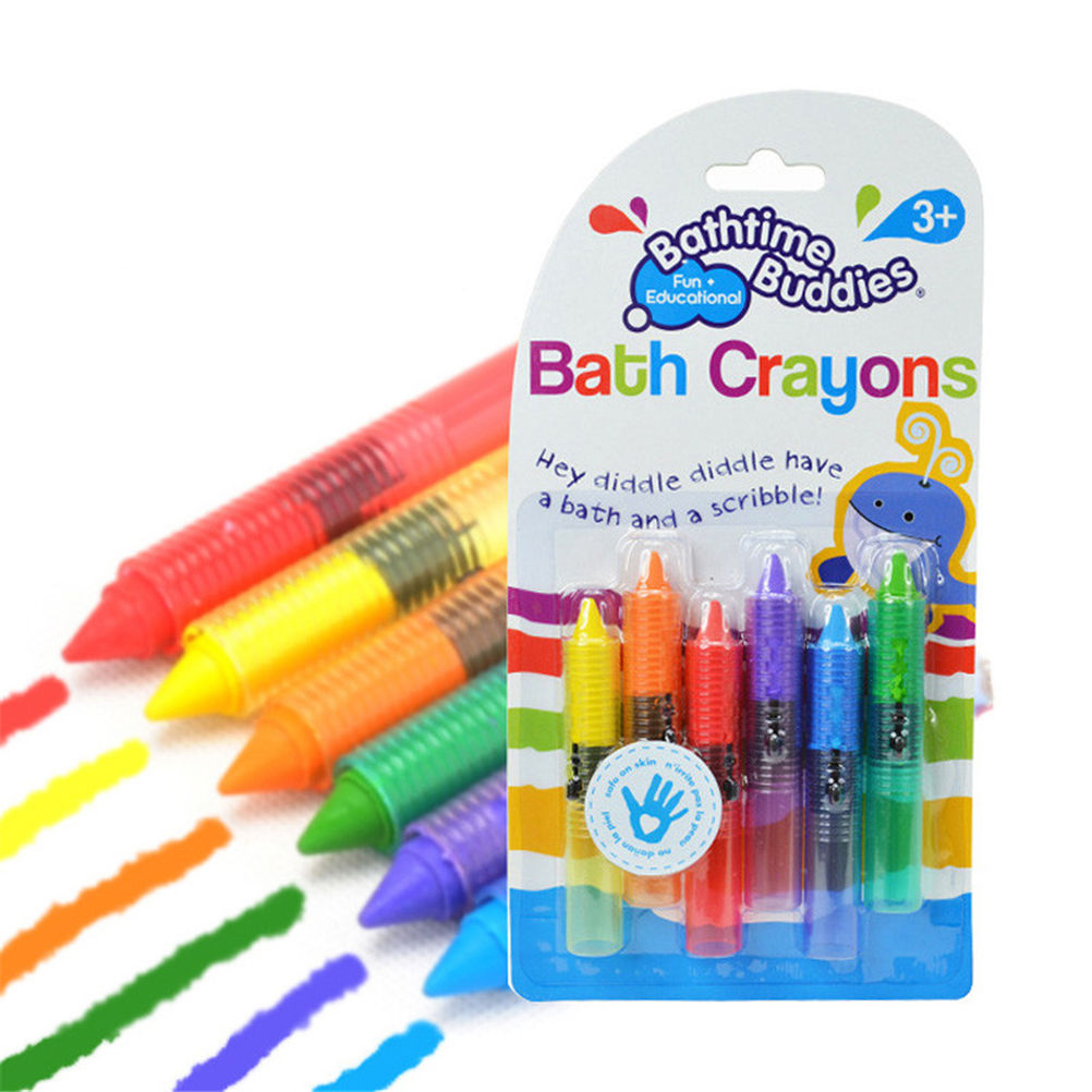 6Pcs/Set Baby Bath Toy Baby Bath Crayons Toddler Washable Bathtime Safety Fun Play Educational Kids Toy G0315