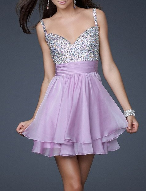 Chiffon fabric new style pleat and beading handwork V-neck Short party prom gown Purple 2018 cheap   bridesmaid     dresses