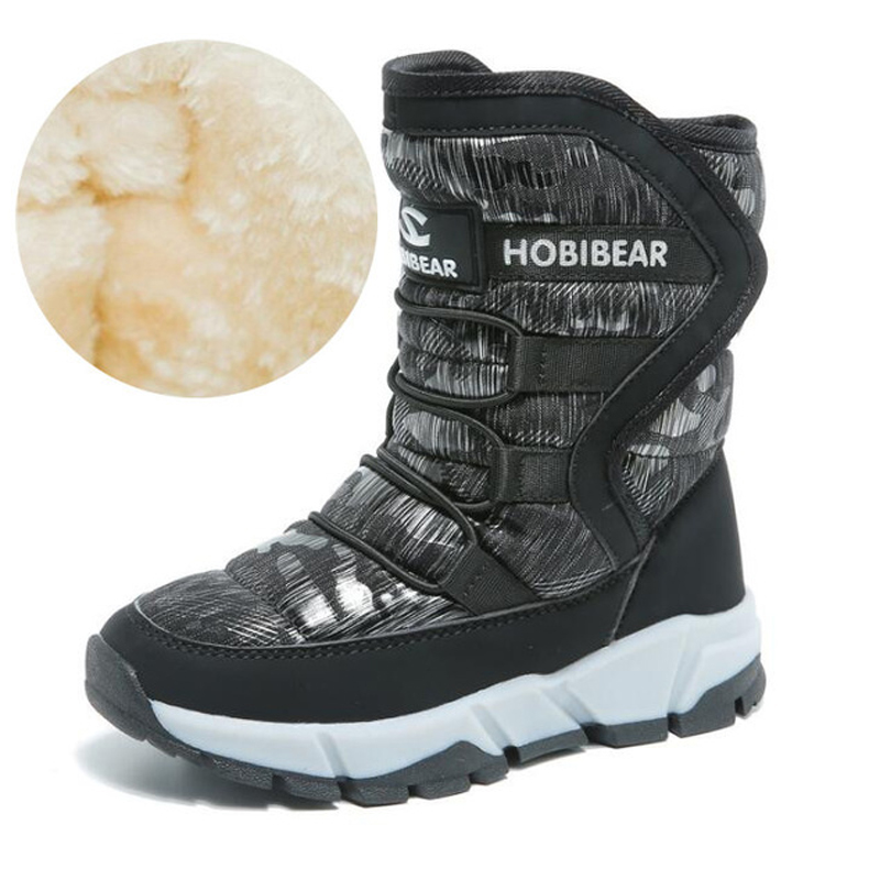 2018 Winter Waterproof Girls Snow Boots Mid-Calf Children's Shoes Flat Boots Warm Plush Winter Boots For Girls Boys With Lining