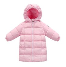 2017 new children Baby girl boy winter long jacket coat toddler 4 color duck down hooded solid fluff overcoat clothes dress