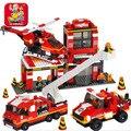 Blocos de construção compatível com legoe nova cidade bombeiros fogo de brinquedo série original de motor duplo