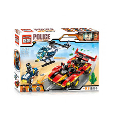 Enlighten 418Pcs City Police Racing Helicopter SUV Model Building Kits Minifigure Blocks Bricks Toys