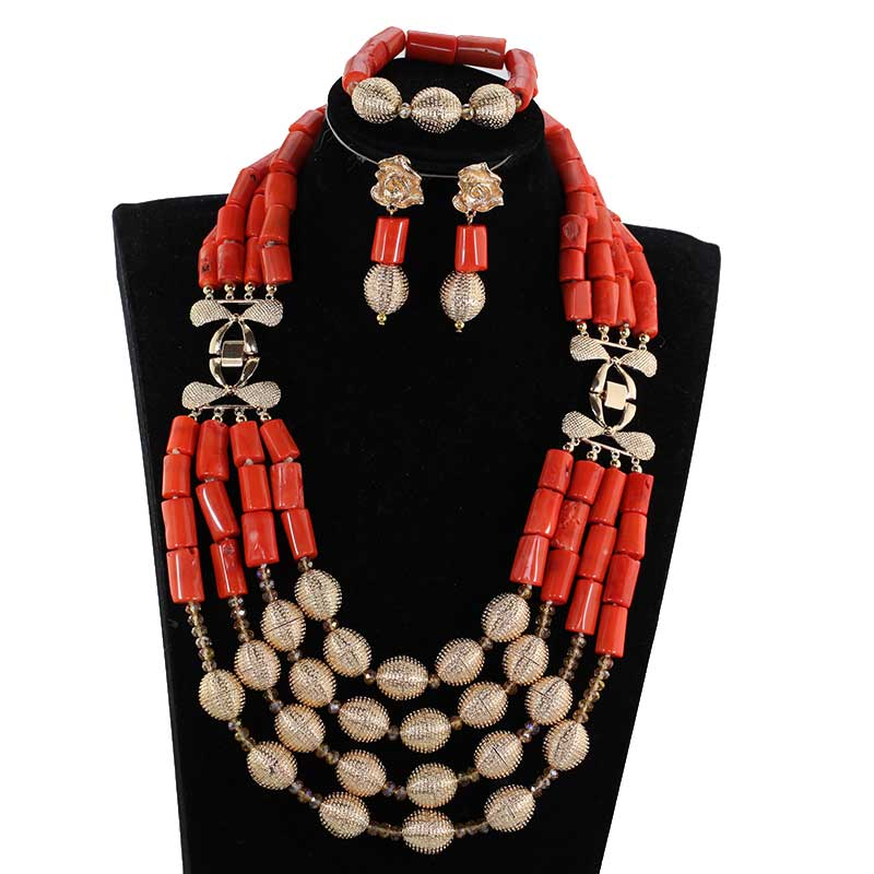 HTB1PReYiYorBKNjSZFjq6A SpXaQ Amazing White Long Coral Beads Necklace Set White Coral Costume African Beads Jewelry Set Gold Fashion Coral Beads CNR057