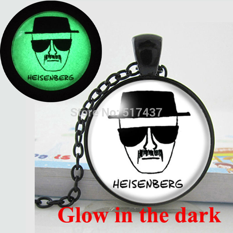Glow in the dark BREAKING BAD Necklace Heisenberg Necklace glass art photo necklace Glowing Jewelry