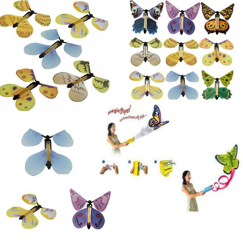 100 unids/lote mariposa voladora mágica de manos vacías libertad mariposa trucos mágicos niños juguete accesorios mágicos para regalo