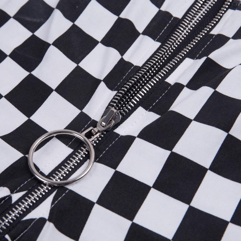 InstaHot Plaid Zipper Checkered Straight Pants Women Fashion Casual Slim Pockets Long Pants Black White Pencil Pantalon Femme 24