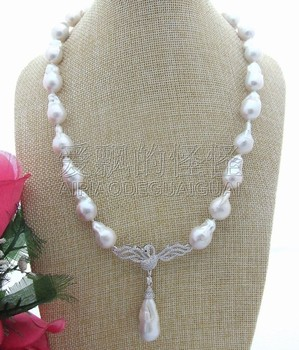 "N032215 21"" 20mm Keshi Pearl CZ Rhinestone Necklace"