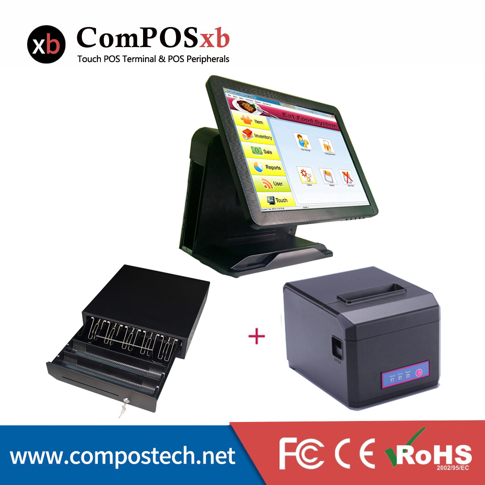 15inch Pure Touch Screen Pos For Restaurant with Printer Cash Drawer