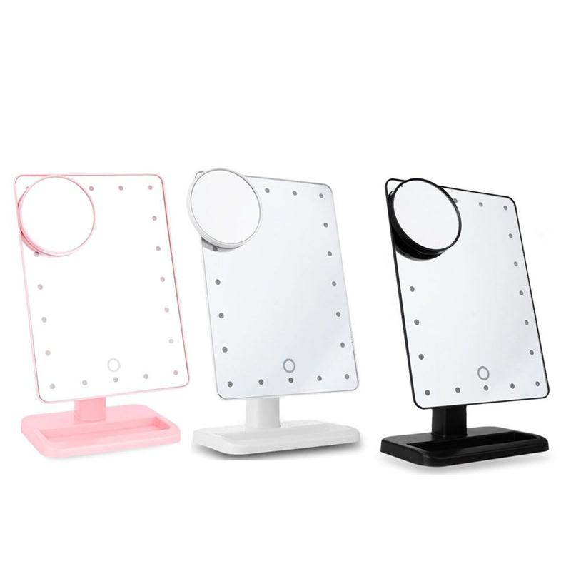 ФОТО Rectangular 20 LED Lighted Vanity Mirror Touch Screen Battery Powered Makeup Mirrors