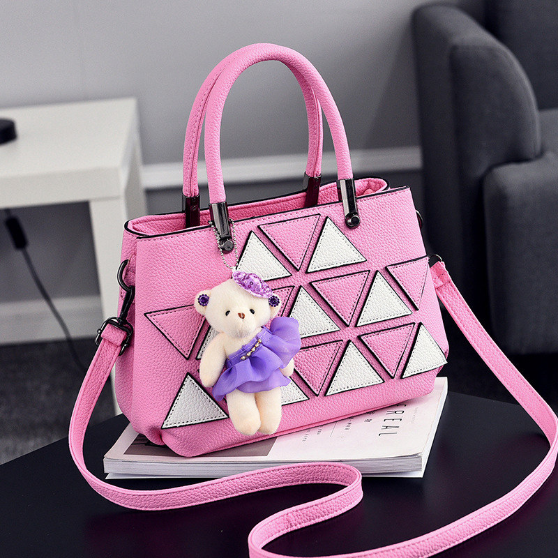 Elegant Pink PU Women Shoulder Bag Crossbody Fashion Office Lady Handbag White Triangle Leather Decoration