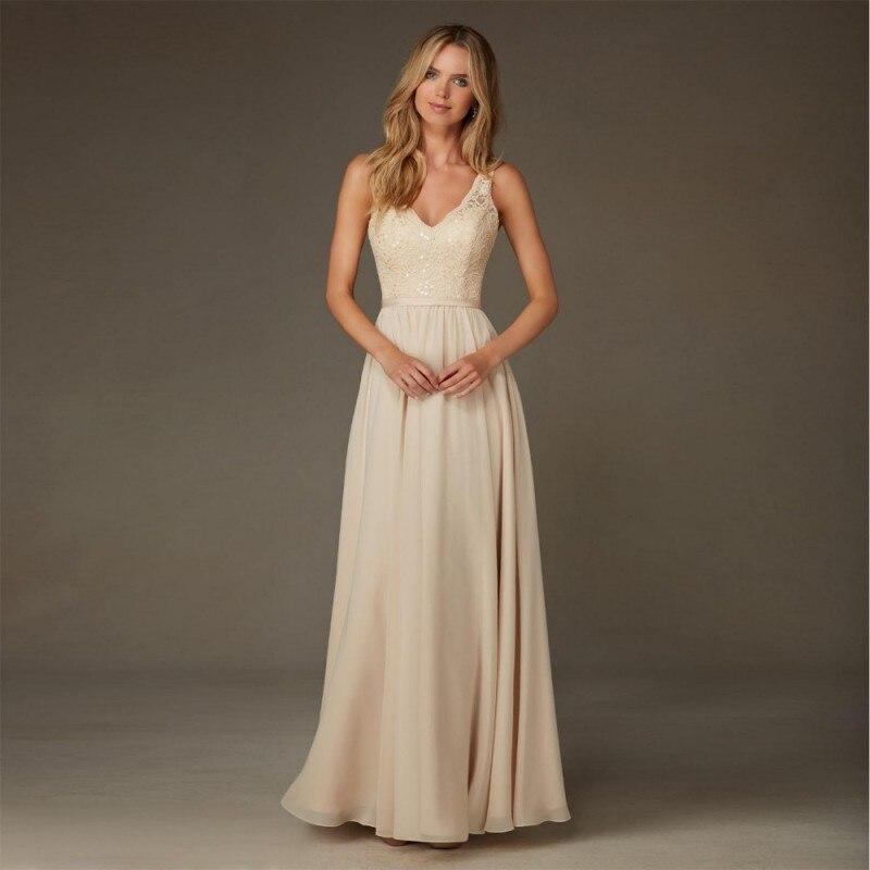 Lace Sequins Chiffon Bridesmaid Dresses Long 2016 A Line Backless robe demoiselle d'honneur Plus Size Wedding Guest Dress Gowns