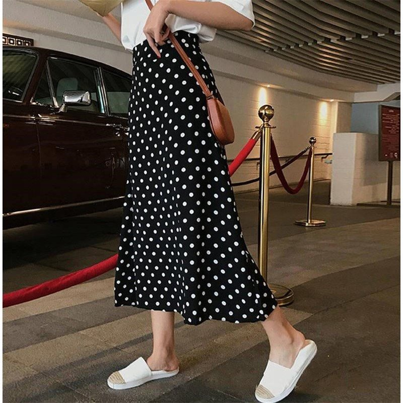 U-SWEAR Summer Skirts High Waist Women's Slim Black Cute Sweet Girls Patchwork Lace Polka Dot Skirt Long Faldas Mujer Moda 2020