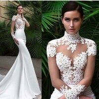 Vestido De Noiva New Elegant Mermaid High Neck Long Sleeves Sheer Lace Appliques White Long Wedding