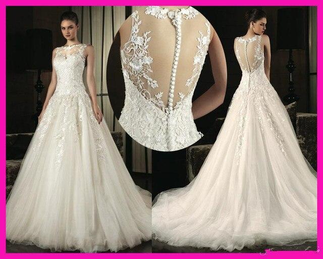 diseñadores escote vestidos de novia botones en la espalda vestido