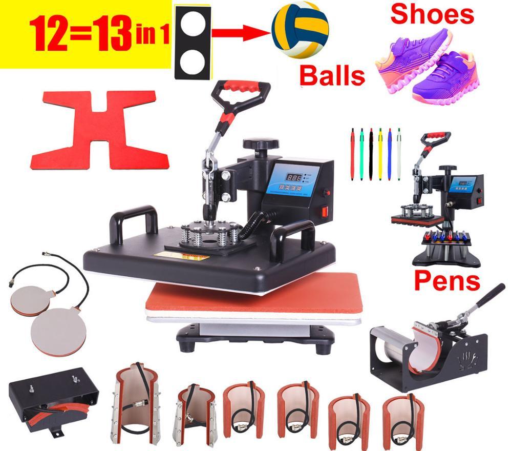 12 In 1 Heat Press Printer Sublimation Heat Transfer Machine Heat Press Machine For T-shirts Plates/Cap/Mug/Phone Cover/pen/ball