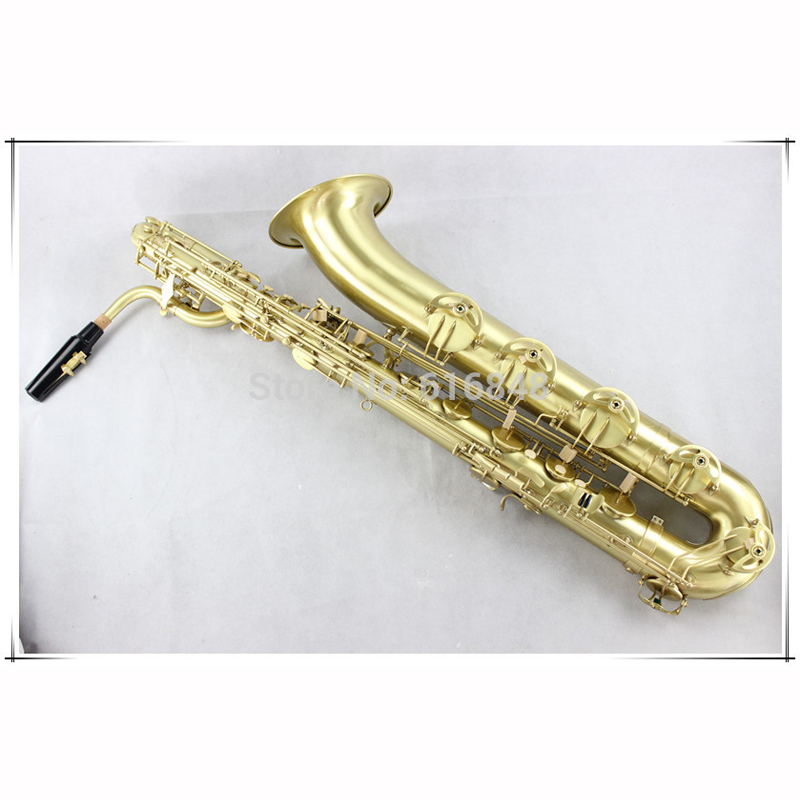 цена на Professional Baritone Saxophone Copy Of Matte Gold Eb Tune Brass Sax Pearl Button With Case Accessories Free Shipping