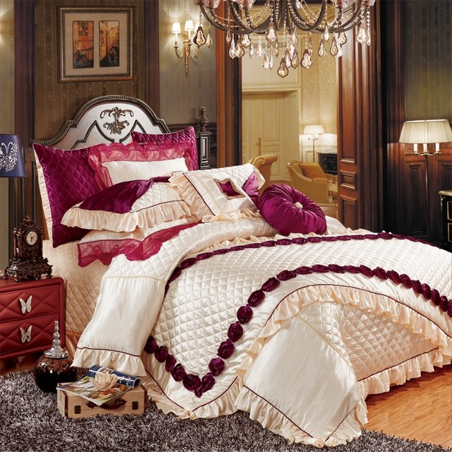 European Luxury Royal Bedding Set Queen King Size White Wedding Bed Silk Cotton